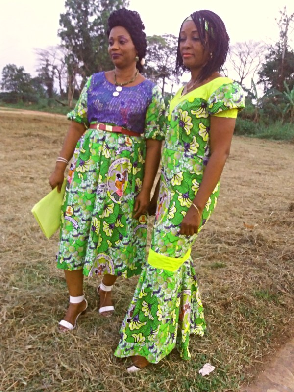 Madame Diane and Madame Stella wearing the 'pagne' fabric received from IFO
